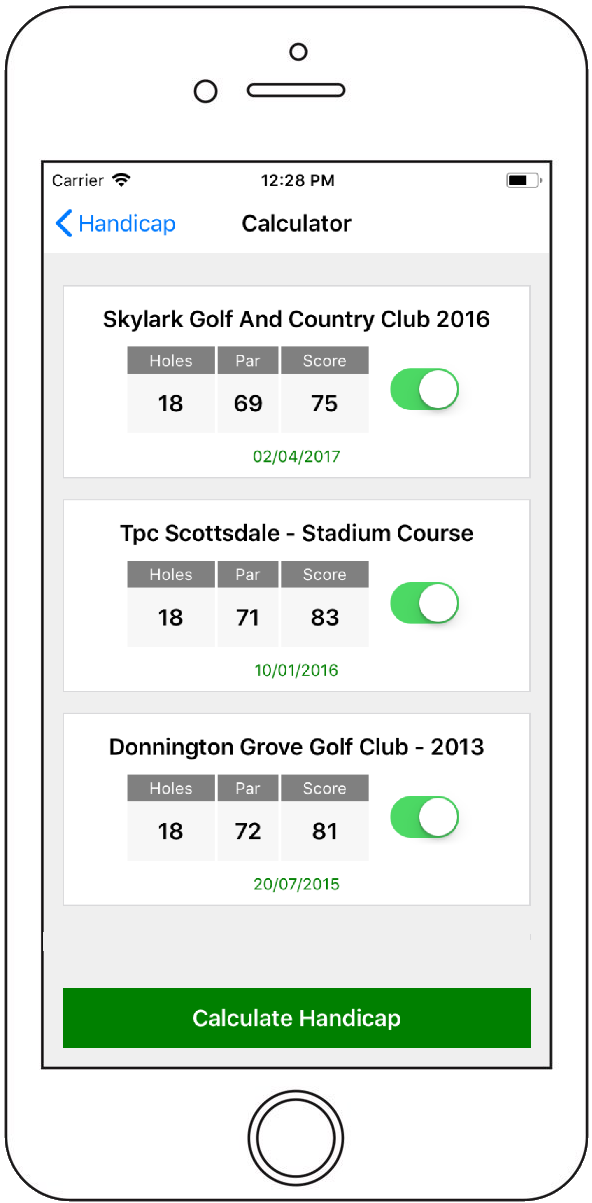 Golf App Handicap Calculator