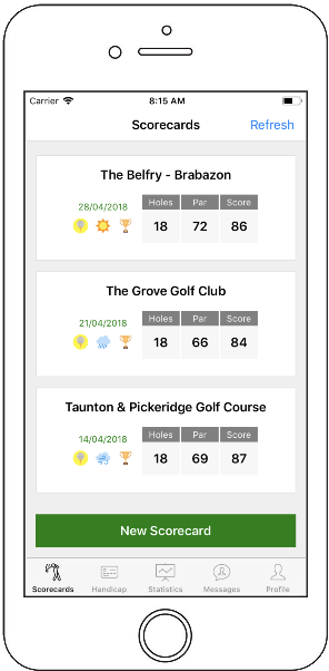 Golf App Scorecards