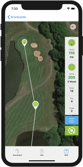 Golf GPS App Zoom and Pan
