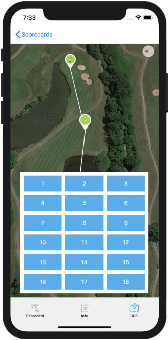 Golf GPS App Hole Selection