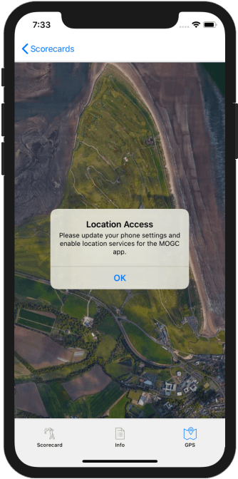 Golf GPS App Location Access