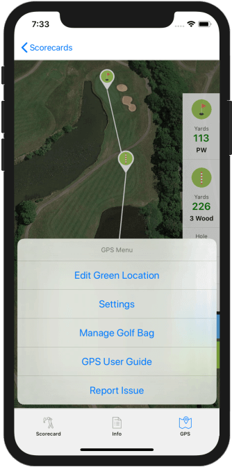 Golf GPS App Menu