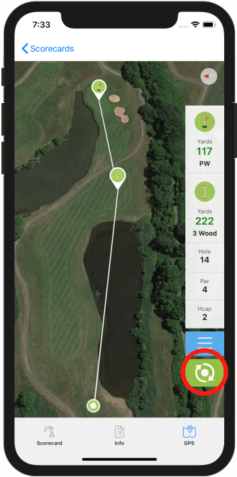 Golf GPS App Refresh Location